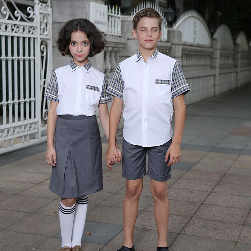 Wholesale New Style Fashion Summer Primary Kindergarten daily Wear School Uniform two piece Girls white shirt gray skirt Sets