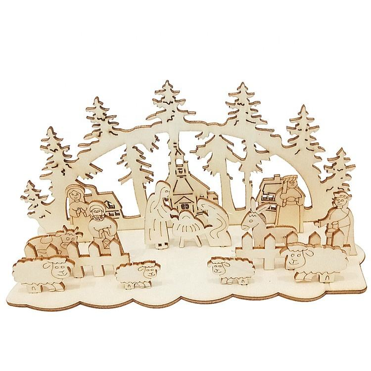 wholesale Indoor Miniature Crafts DIY Religion Wood Christmas Nativity set Scene