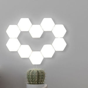 Creative Smart Removable Hexagonal Wall Lamp Quantum Modular Touch Hexagon Geometry Splicing Hex Honeycomb White LED Night Light