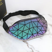 2019 Fashion Style Outdoor Travel Geometric Luminous Holographic Messenger Belt Bum Bag Fanny Pack Waist Bag for Women Men