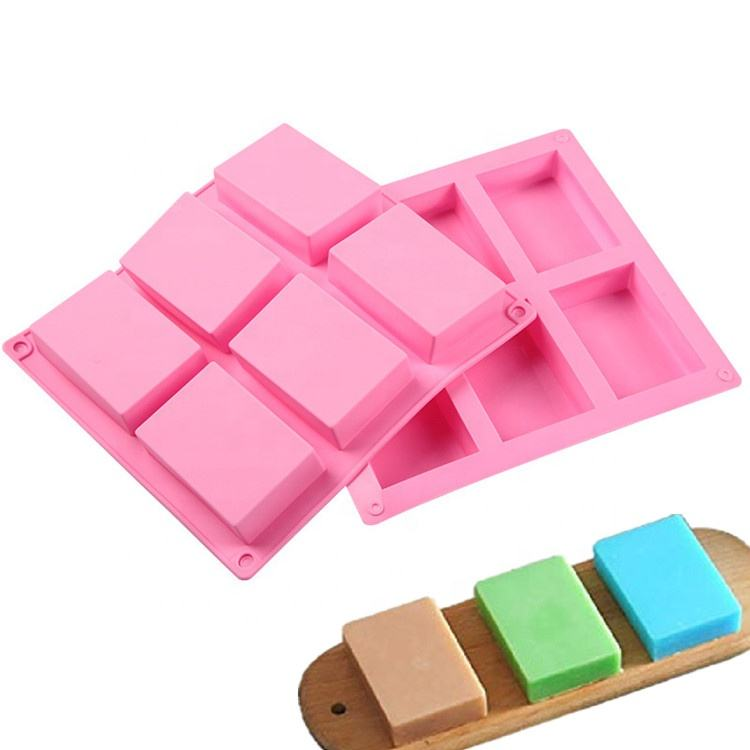 Custom Logo 6 Cavity Food Grade 3D Handmade Bar Rectangle Silicone Soap Mold for Silicon Tray Making