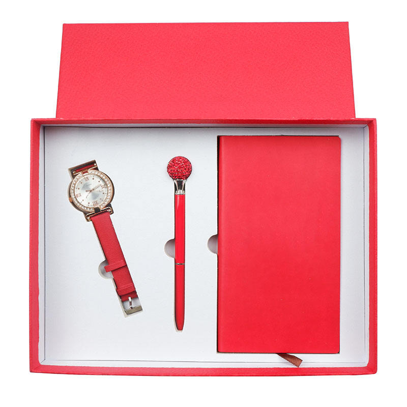 Wholesale Customize Logo Newest Design Luxury Gift Set Red Watch+ Pen+PU Cover Notebook Wedding Promotional Gift Set