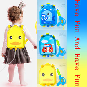 Summer pull-out water gun Children's beach play toys transparent backpack water gun boys and girls