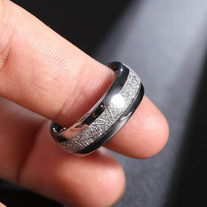 6MM 8MM Tungsten Wedding Ring Imitated Meteorite Silver Polished Band