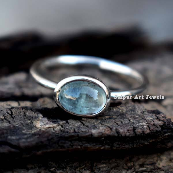 Unique bridesmaid 925 sterling fine silver chunky stackable oval aquamarine solitaire ring