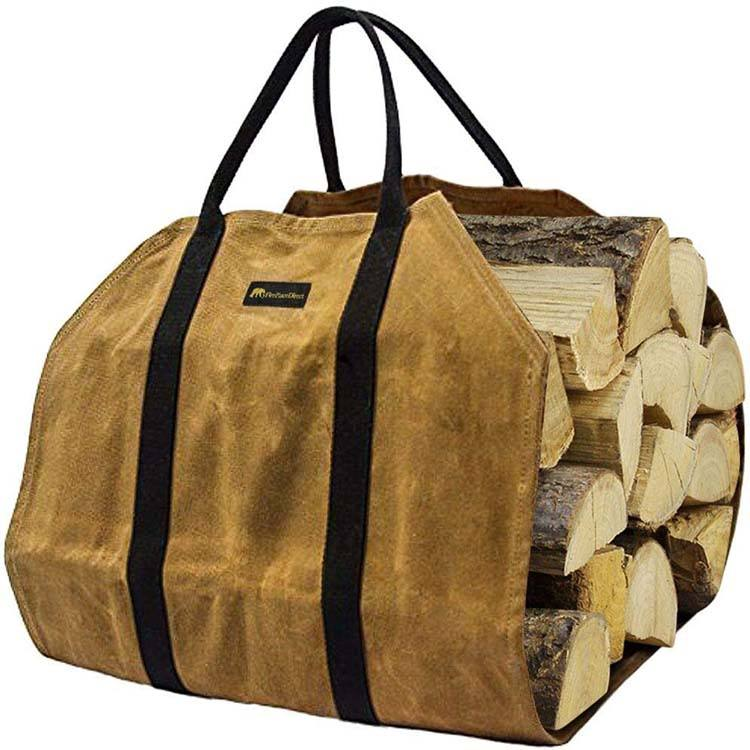 Sturdy Waxed Canvas Firewood Log Carrier, Durable Firepalce Wood Bag with Reinforce Cotton Straps