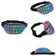 Custom geometric pattern luminous PU reflective waist belt bags women crossbody chest bum bag men
