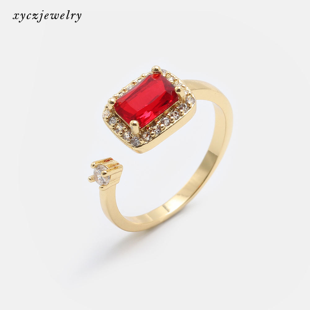 Factory Wholesale Fashion rectangle red glass Cubic Zirconia Jewelry Rings