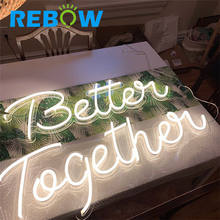 Rebow Drop shipping LED Neon Sign Board Acrylic Custom 12V Rgbw Addressable LED Strip Neon Light For Wedding