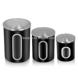 Kitchen Caddy Food Storage Canister set of 3 stainless steel metal canister