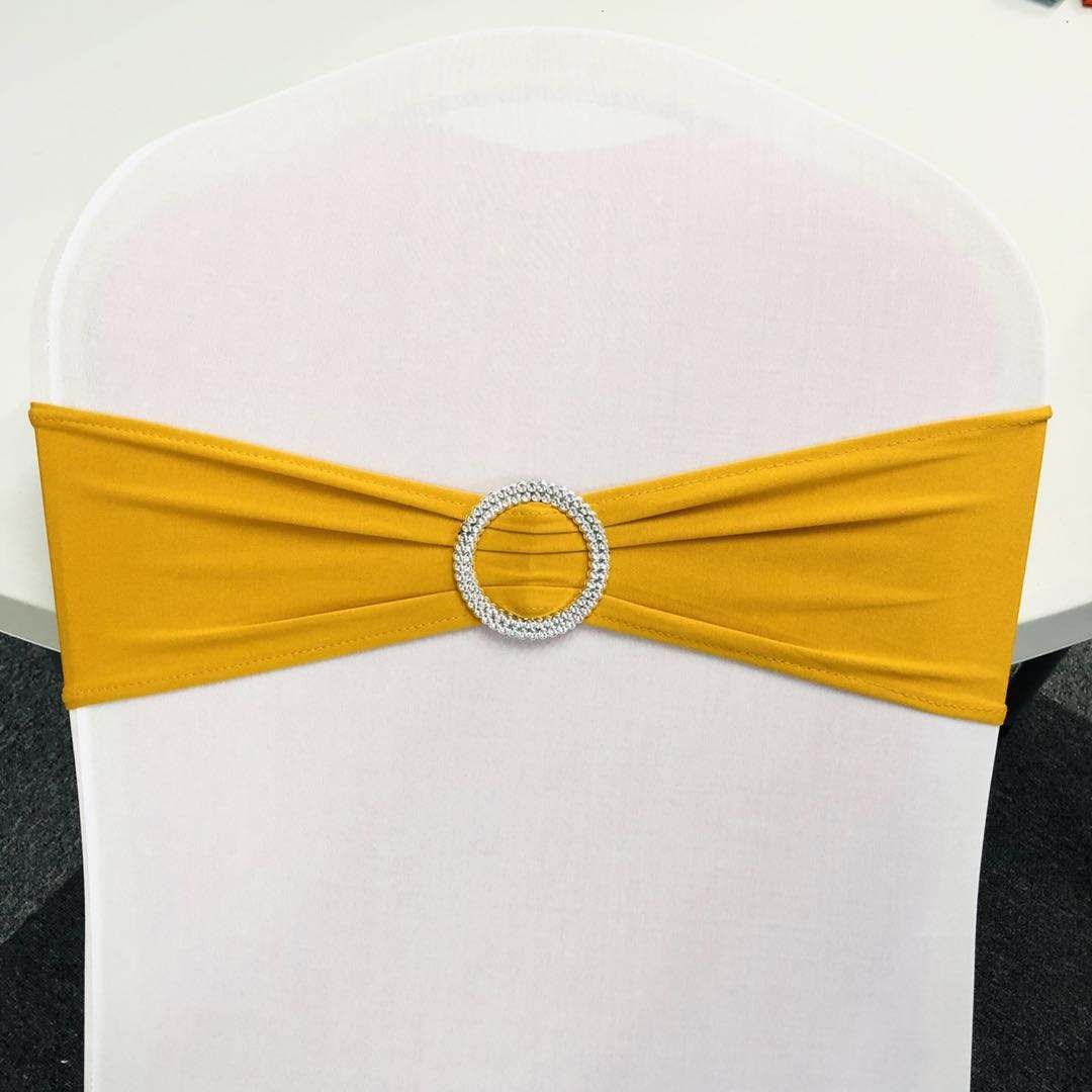 Lycra spandex gold chair sashes for wedding