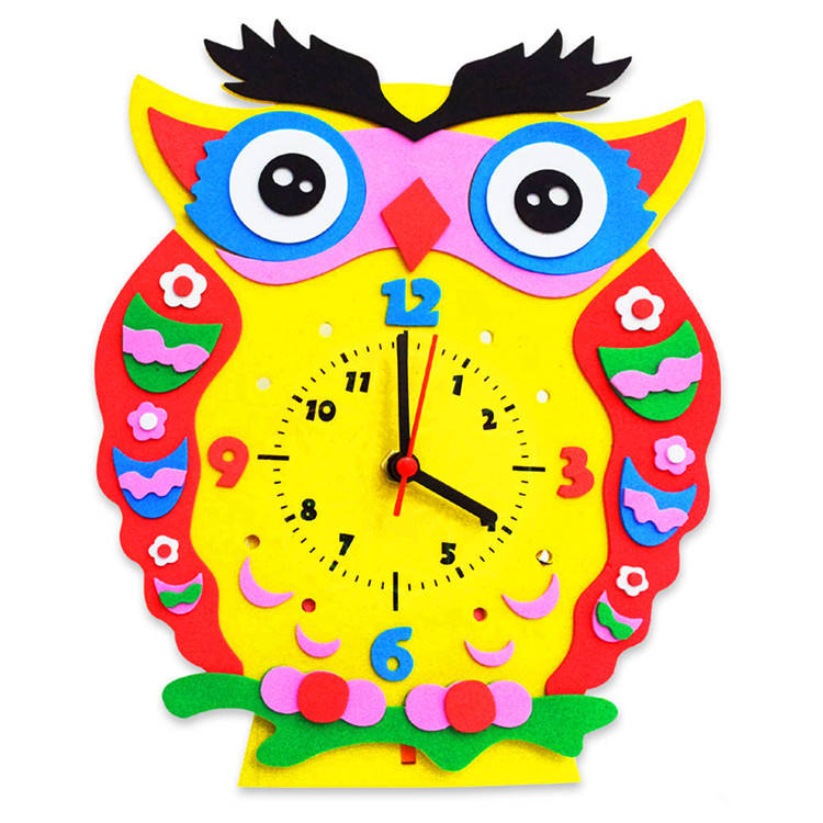 EVA Creative Cartoon Fun Clock Children DIY Handmade Art and Crafts Clock