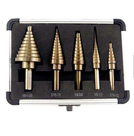 CO-Z 5pcs Hss Cobalto Fori Multipli <span class=keywords><strong>50</strong></span> Dimensioni Step Drill Bit Set w/Caso di Alluminio