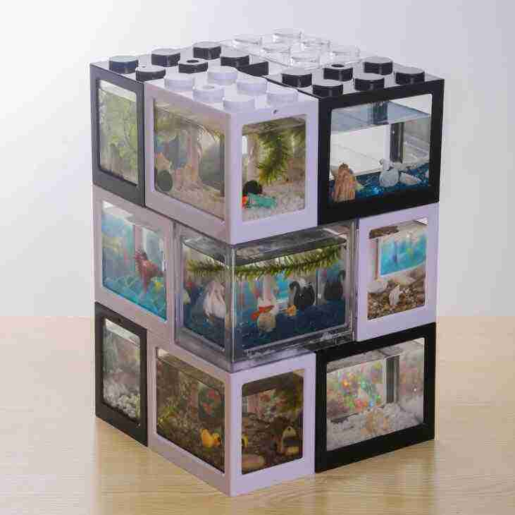 Creative box cylinder superimposed ecological cylinder betta aquarium ball spider box ant box small mini reptile row cylinder