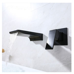 Popular In wall installation brass black water taps bathroom faucet widespread basin faucet