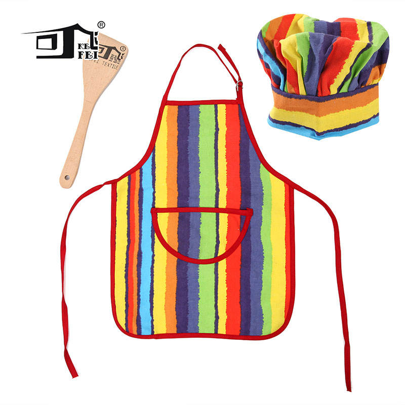 Wholesale Custom Logo Printed Design Linen Cotton Kids Apron And Chef Hat