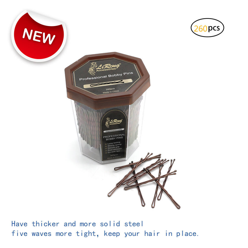 Lirong 260pcs 5 CM/2in Bobby pins объемные крепкие заколки для <span class=keywords><strong>волос</strong></span> салон (коричневый)