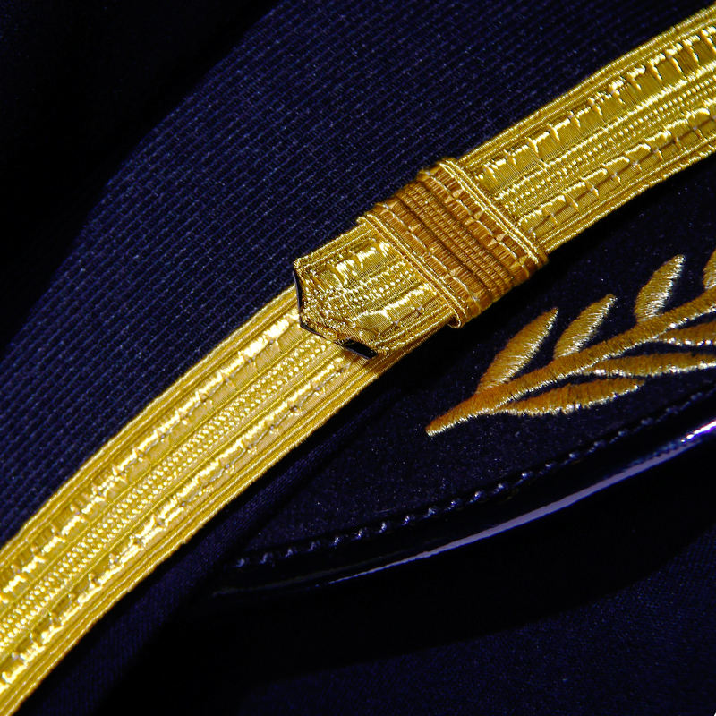 Factory wholesale indian handed bullion embroidery ribbon for pilot army caps