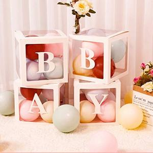 Umiss Paper Boy Girl Baby Blocks Dekorations DIY Transparent Baby Shower Boxes Decor Birthday Party