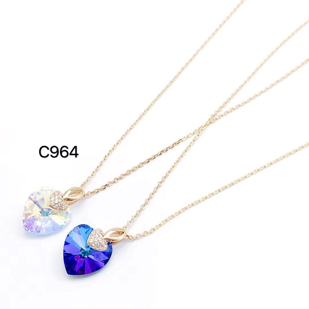 Pendant Necklace Fashion Design Elegant Crown Heart Shaped Exquisite Crystal Custom Women Charm Pendant Long Necklace