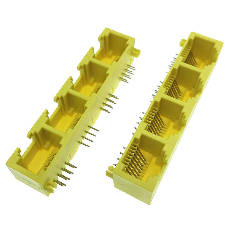 yellow PBT one or four mini RJ45 connector