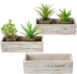 Whitewashed Rectangular indoor Flower Planter Window centerpiece Box rustic wooden planter box for decor