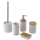 2020 From China Luxury Ceramic Toilet Accessories Matt White Bathroom Accessory Set With Bamboo Base