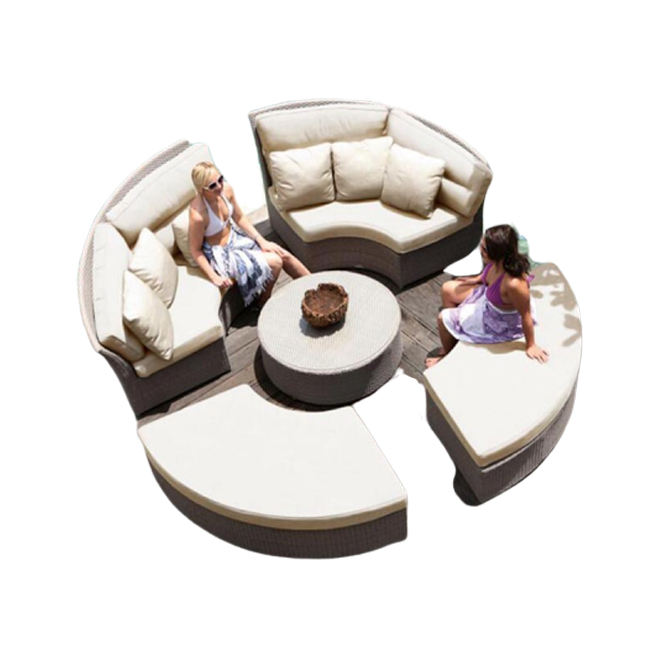 Modern luxury leisure round outdoor garden furniture rattan 8 seater sofa sets patio furniture
