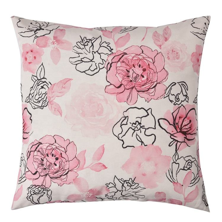 Decorative cushion case neck pillows Printed rose colorful square pillow cover for outdoor furniture