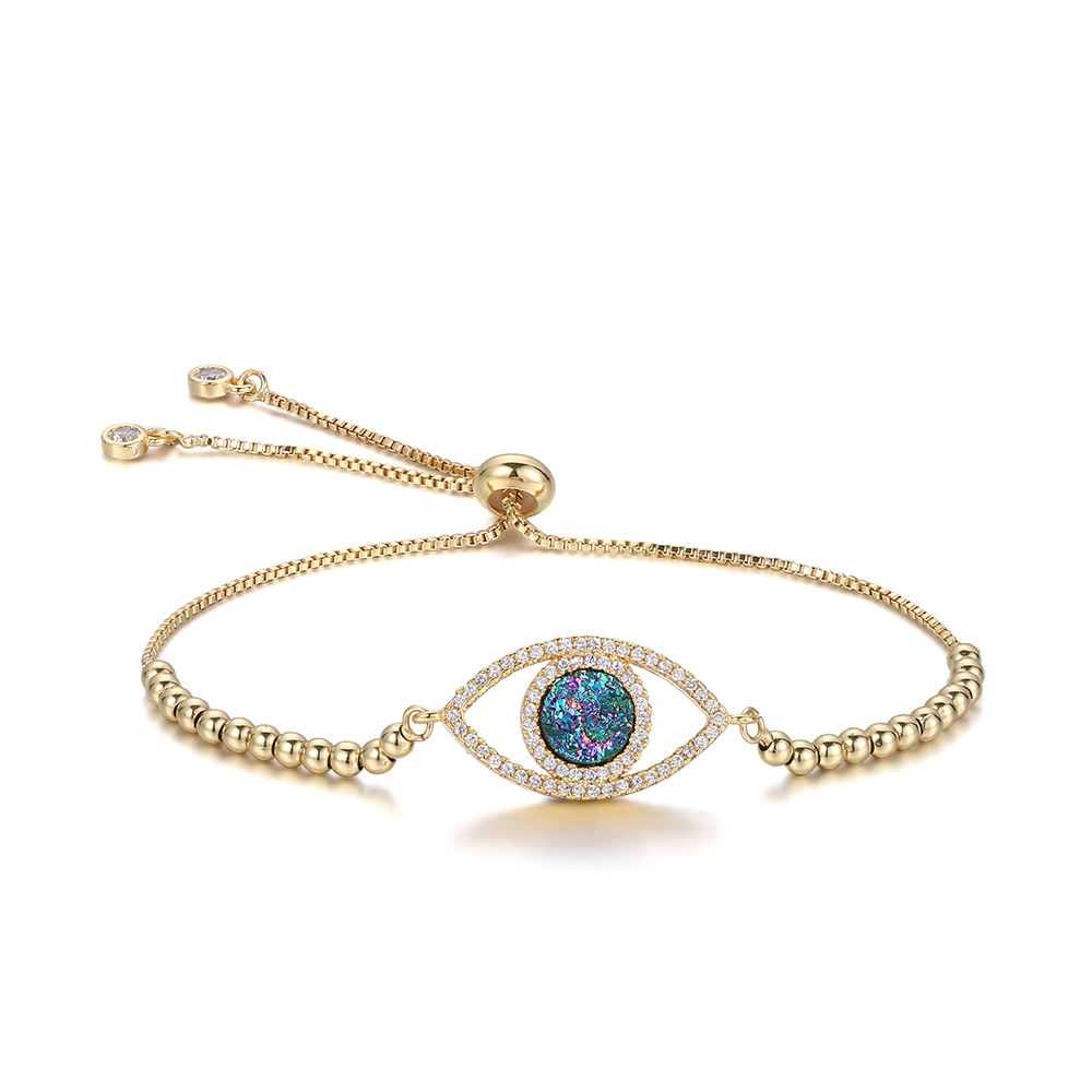 Fashion micro pave zircon gold plated chain natural druzy crystals healing stones eye evil charm bracelet for women girl