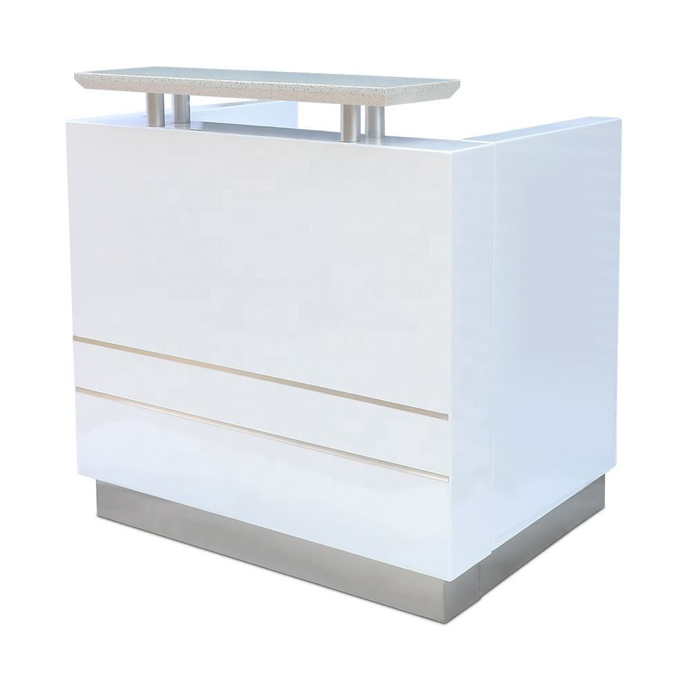 Kangmei Wholesale Cheap Price European Modern New Design White Beauty Salon Furniture Small Counter table Front Reception Desk