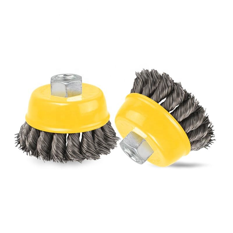 "3"" Steel Wire Wheel Knotted Cup Brush Rotary Steel Wire Brush For Angle Grinder"