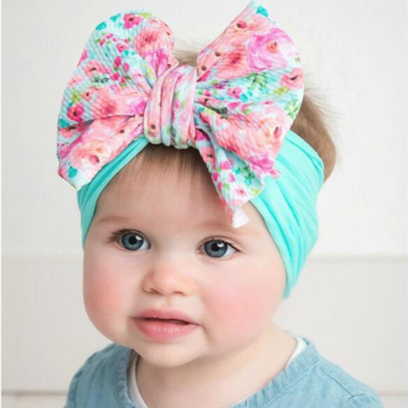 Boutique printed large bow nylon headband soft elastic baby hair accessories girls headband bows for girls hair