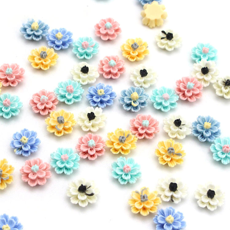 Mix Resin Little Glitter Flower Flatback Cabochons Flower Pattern Flat Back Resin Flatback Flower