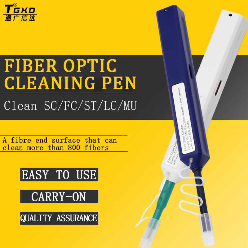 High Performance SC FC ST 2.5 mm LC 1.25 mm APC UPC Fiber Optic Connector Cleaner One-button Cleaner Pen