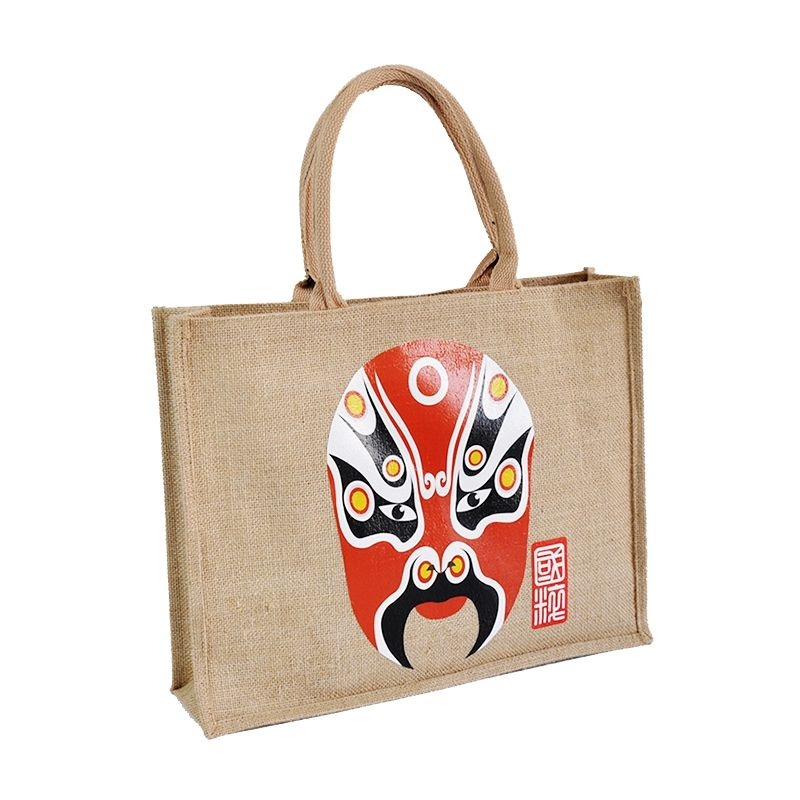 2019 new practical retro national wind female jute gift bag with zipper