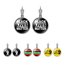 Factory Ladies Girls Statement I can't Breathe Black Lives Matter Glass Cabochon Dangle Drop Earrings