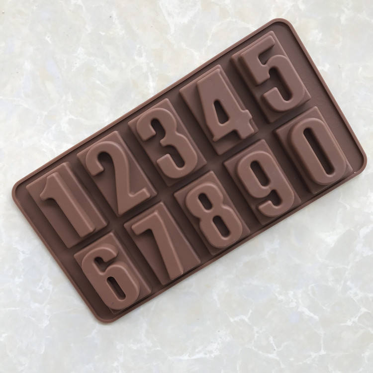 Silica gel chocolate mold 0-9 digital silica gel chocolate mold ice grid baking special tools