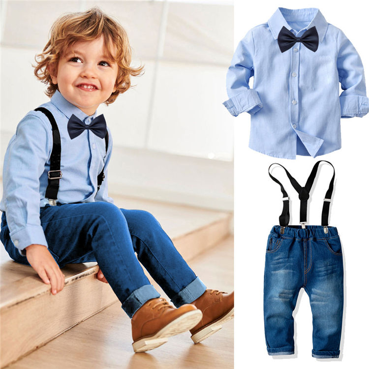 BSL102 Boys Two Pieces Sets Baby Long Sleeve Blouse And Bib Pants Children Cute Preppy Boutique Kids 2 Piece Clothing