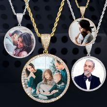 KRKC Custom Round Gold Iced Out Pendants Hip Hop Necklace Custom Photo Locket Picture Pendant Photo Pendant with Picture