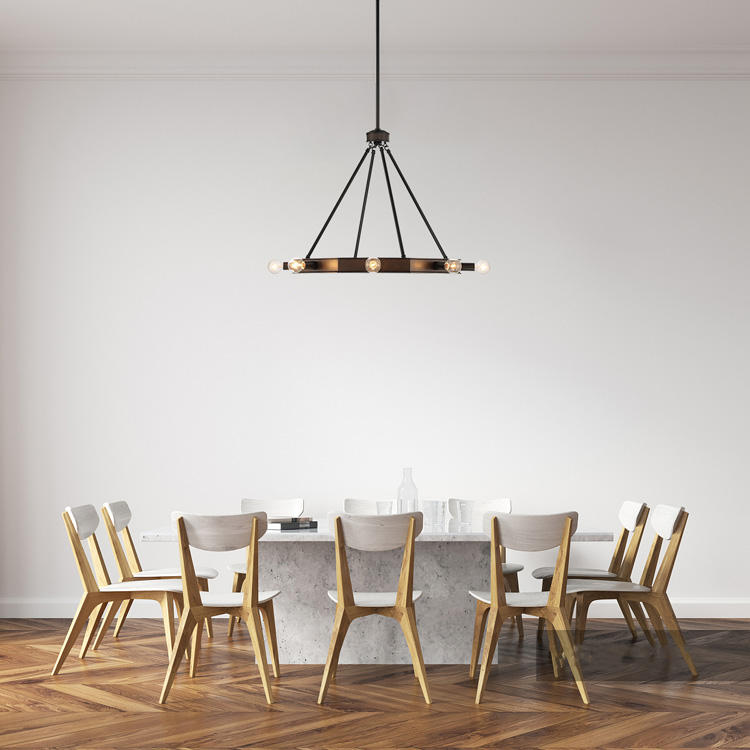 Octagon Pendant Ceiling 8 Lights Ceiling Chandelier Black And Wood Finish Residential Good Quality