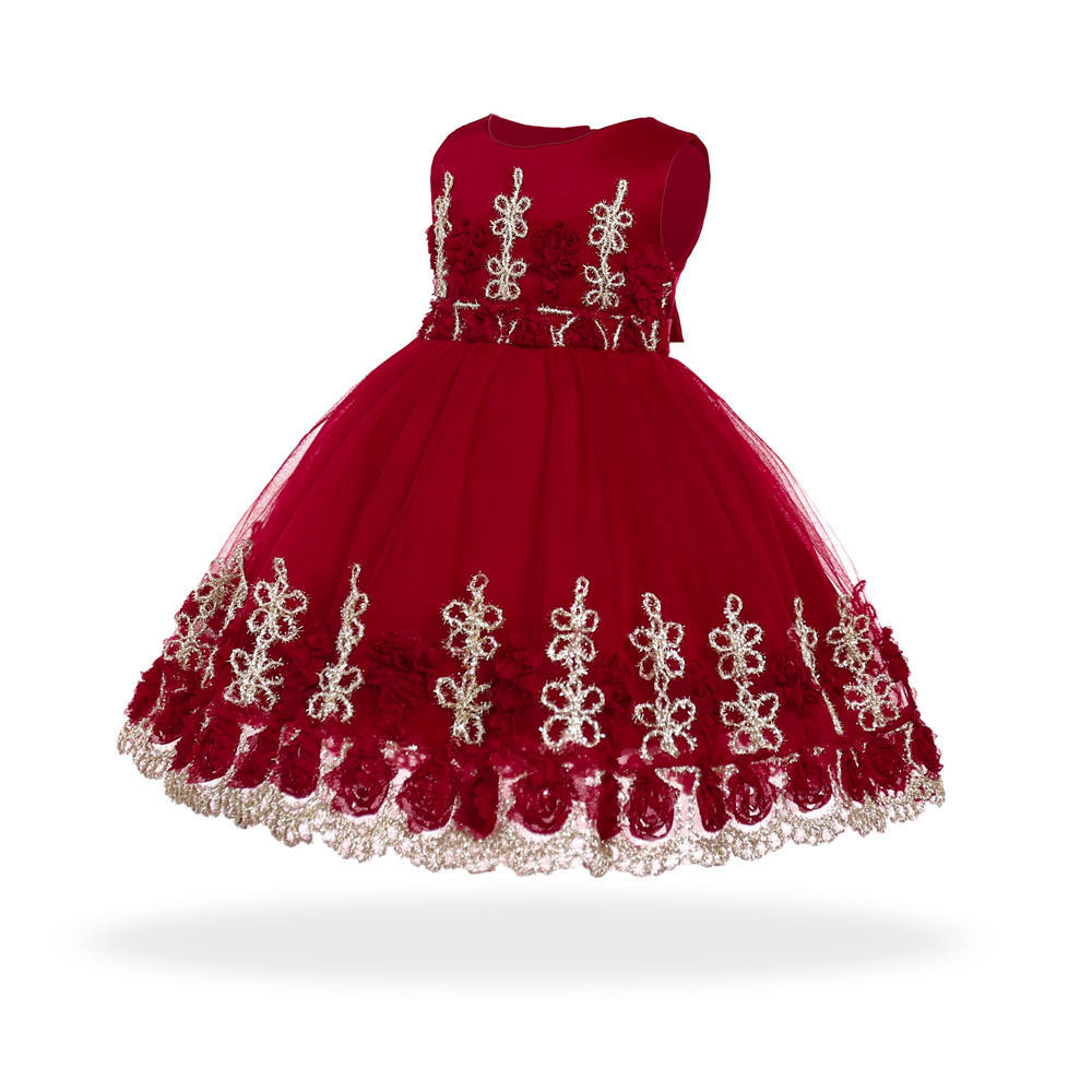 6-24 months baby girl lace rose dress red princess party birthday flower dress
