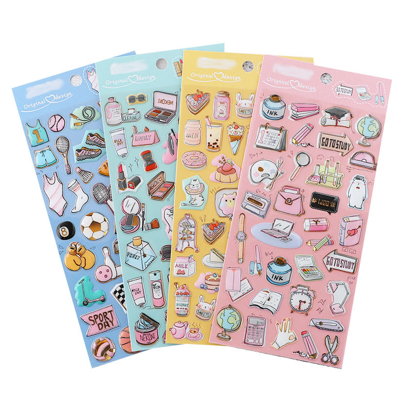 Best selling product planner stickers decorative waterproof Die Cut 3d dome epoxy cute sticker pack for scrapbooking