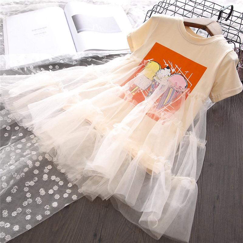 New fashion baby Girls summer ruffled short sleeve printed tulle t shirt dress