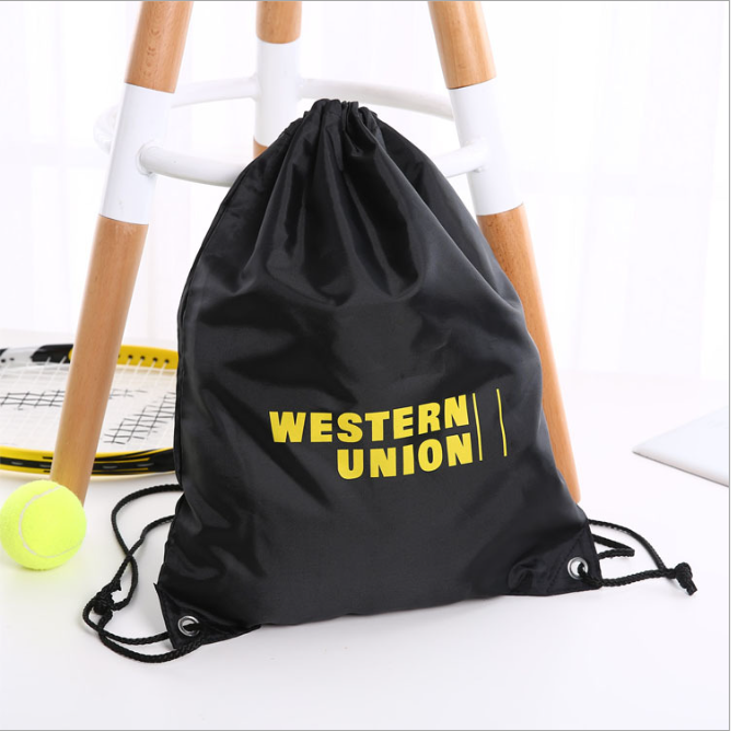 Custom Polyester Drawstring Backpack Traveling Sport Fabric String Bag with Printing Logo