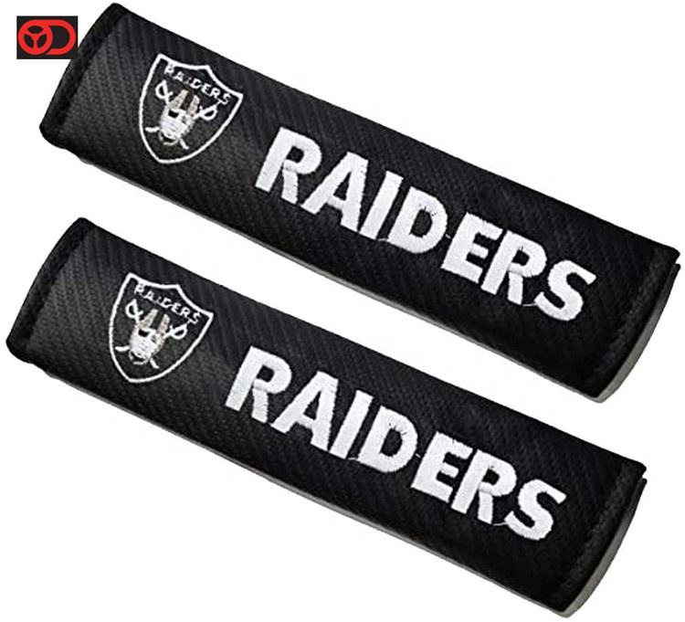 Embroidered Team Logo Carbon fiber Black Leather Car Seat Belt Pads Safety Belt Cover Pad for Las Vegas Raiders