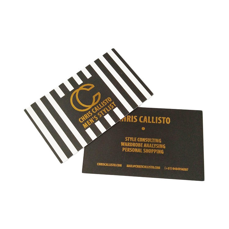 Custom LOGO gold or silver hot stamped coated paper business cards