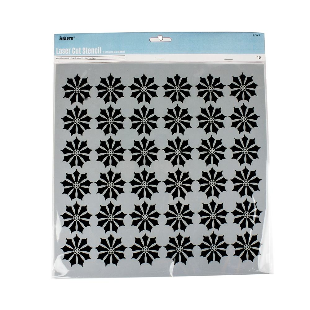 67621~67642 Reusable Mandala Stencils (12x12 inch) for DIY Painting on Wall Floor Tile Wood Furn