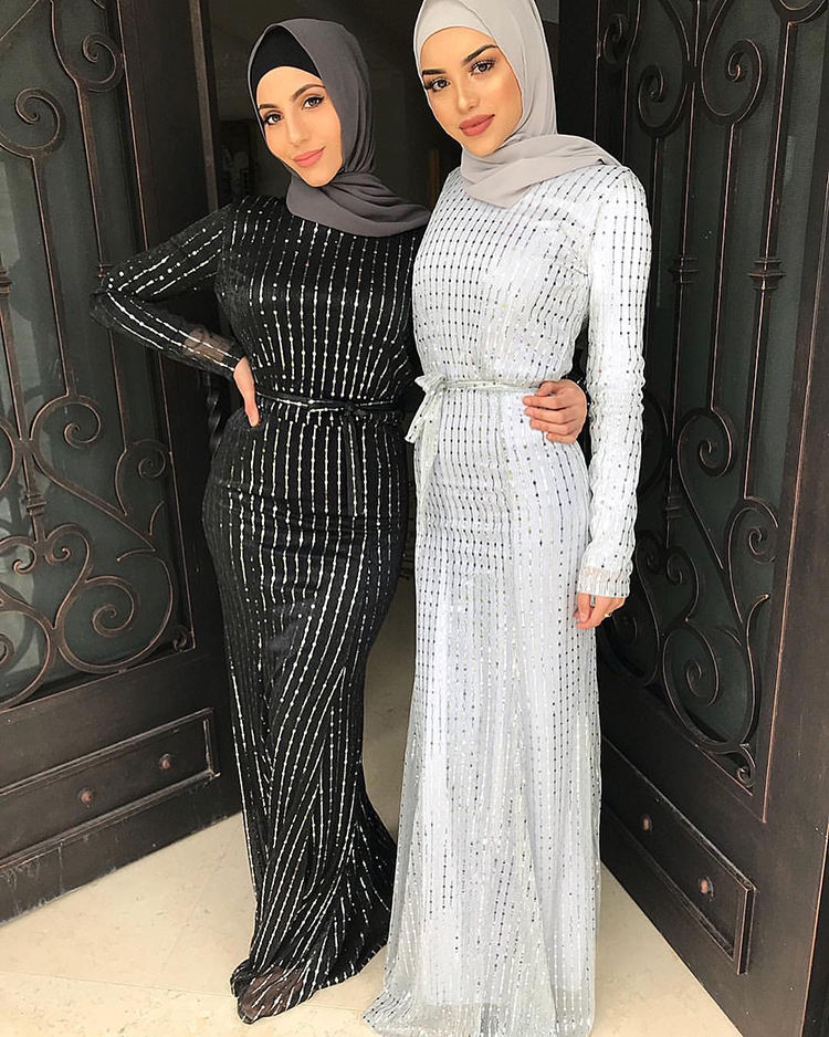HG273# Fashion Western Stripe Maxi Dresses Middle East Muslim Sequin New Ladies Abaya