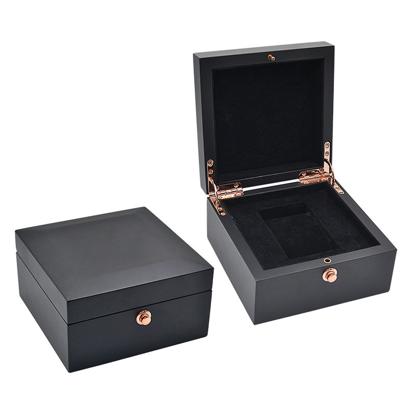 Small Black Wooden Watches Storage Organizer Case For Men Travel Smart Supply Manufacture Mdf Watch Box